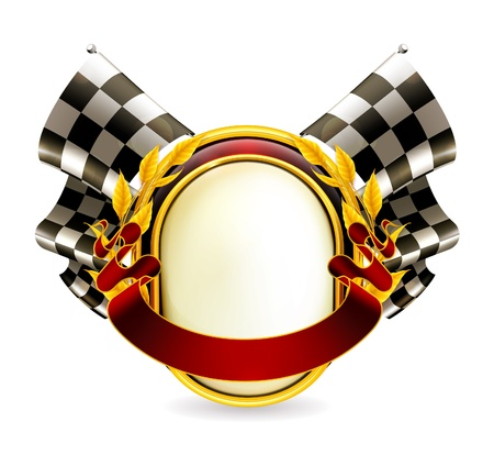 checker flag: Flag checkered emblem Illustration