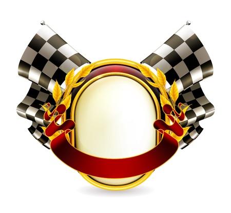 checkered flag: Flag checkered emblem Illustration