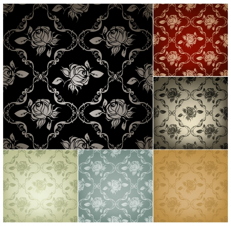blue rose: Seamless Pattern, set of six colors Illustration