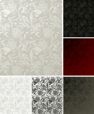 Seamless Wallpaper Pattern, set of six colors Vector