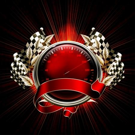 compteur de vitesse: Courses emblème rouge Illustration