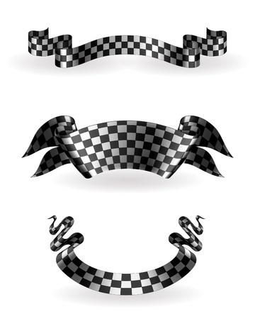 шашка: Клетчатый ленты установлены Иллюстрация