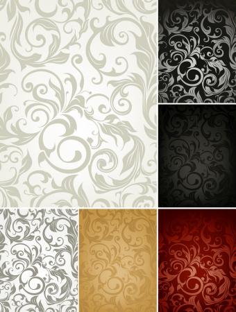 damast: Seamless Wallpaper Muster, sechs Farben eingestellt