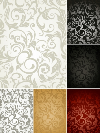 baroque: Seamless Wallpaper Pattern, set of six colors