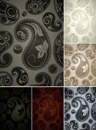 Seamless Wallpaper Pattern, set of six colors Stock Vector - 13777257