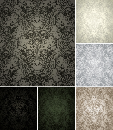 baroque wallpaper: Seamless Wallpaper Pattern, set of six colors