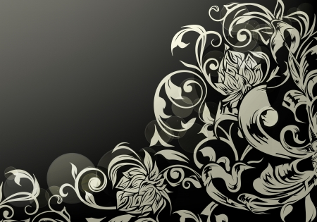 Wallpaper decor on Black Stock Vector - 13777231