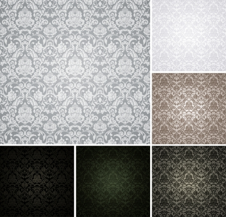 Seamless Wallpaper Pattern, set of six colors Stock Vector - 13777260