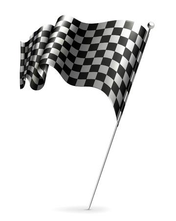Waving flag checkered Vector