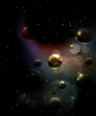 Futuristic background with molecules black Vector