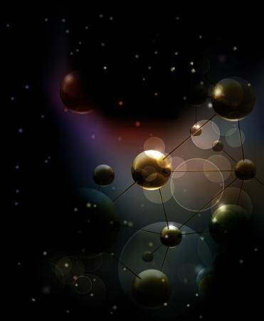 Futuristico sfondo nero con le molecole