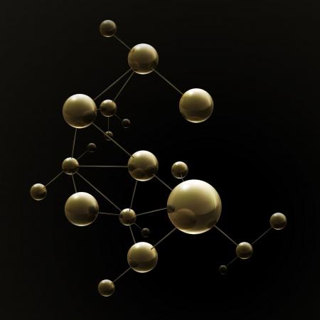molecules: Molecule on black