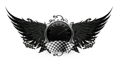 motorcycle racing: Wings Black, Racing emblem Illustration