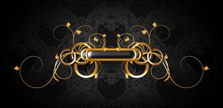 Luxury frame black on gold Vector