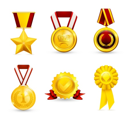 Gold medal, set Vector