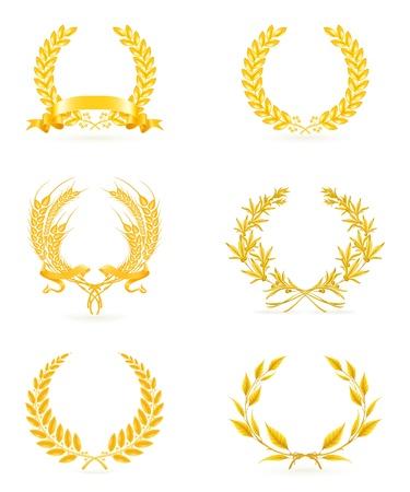 Golden wreath set Ilustrace