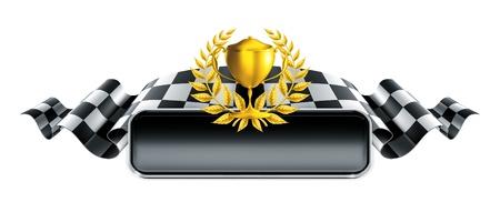 cuadros blanco y negro: Banner Racing con el trofeo