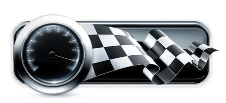 cuadros blanco y negro: Banner Racing Vectores