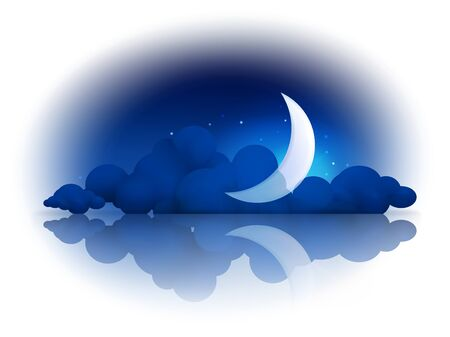 moonlit: Moon and clouds Illustration