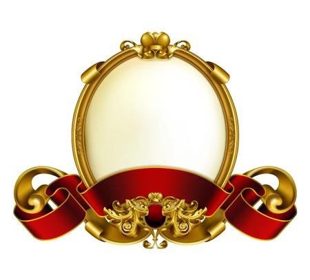 corona reina: Vintage marco blanco