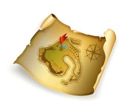 treasure map: Old treasure map Illustration