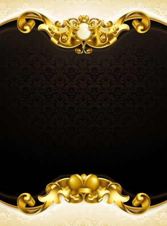 baroque frame: Vintage background black vertical Illustration