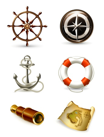 Marine set, high quality icons Vector