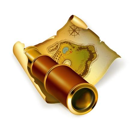 t�lescopes: Ancienne carte et lunette