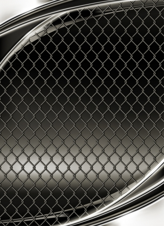 chained link: Wire mesh, black background Illustration