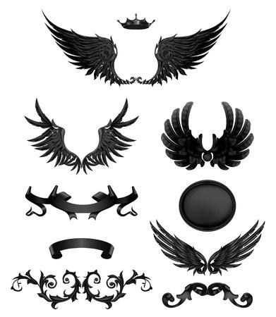 ruban noir: Les éléments de conception avec des ailes, de haute qualité Illustration