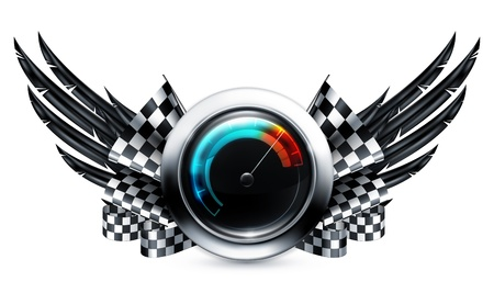 checker flag: Speedometer emblem