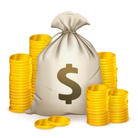 gain money: Des piles de pièces de monnaie et sac d'argent