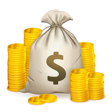 Stapel von Münzen und Geldsack