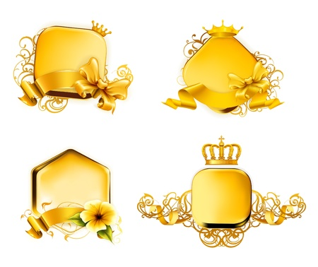 Golden Emblem, set Stock Vector - 13798358