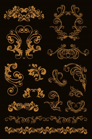 Calligraphic design, set on black Vector