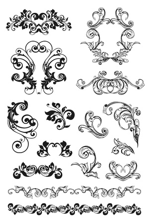 Calligraphic design, set Vector