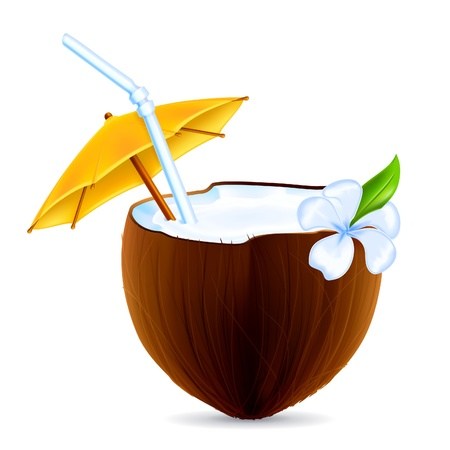 Coconut Cocktail Illustration