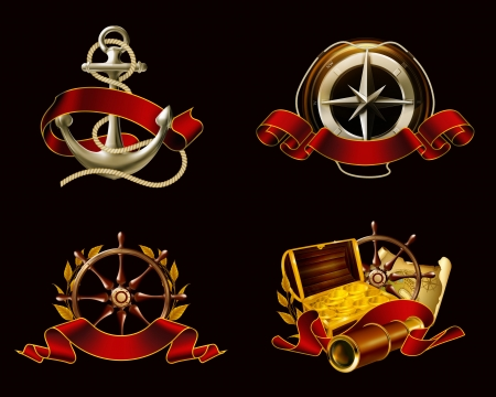 3d sail boat: Marine Emblem set on black Illustration