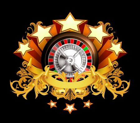 luck wheel: Roulette insignia on black Illustration