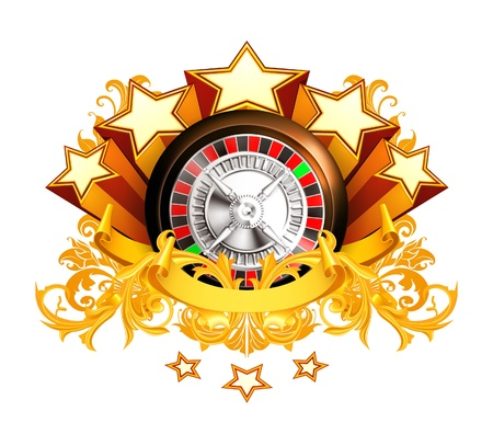 luck wheel: Roulette insignia Illustration