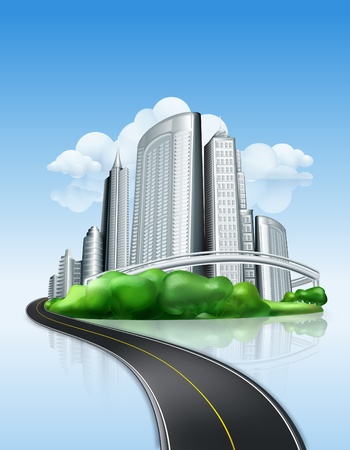 City and road Stock Vector - 13798561