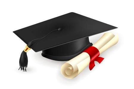 Casquillo y el diploma de graduación Ilustración de vector
