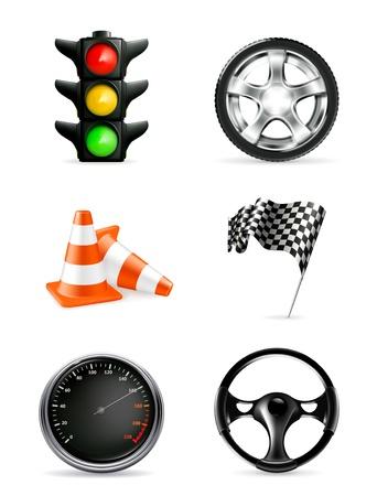 Road icons, set Illustration