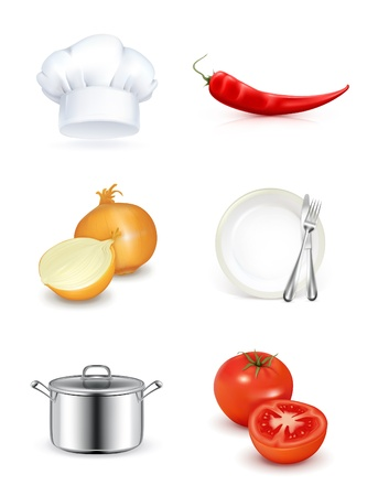 Kitchen, icon set Vector