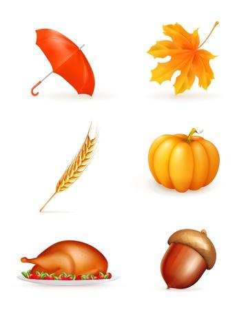 Autumn, icon set Vector