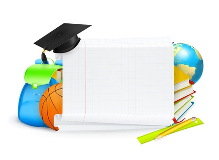schoolbook: School banner Illustration