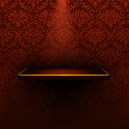 Empty shelf, red luxury Vector