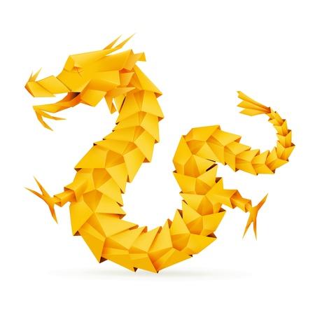 origami paper: Origami dragon, orange Illustration
