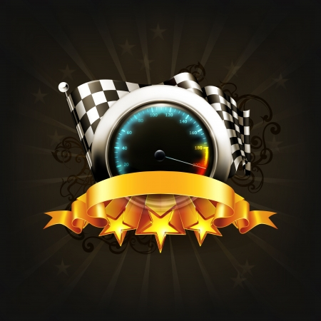 Racing emblem on black Vector