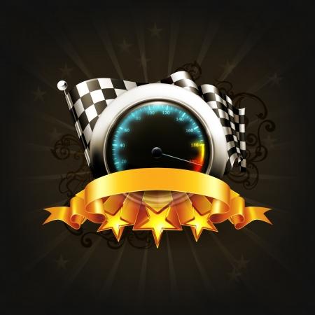Racing emblem on black Vector